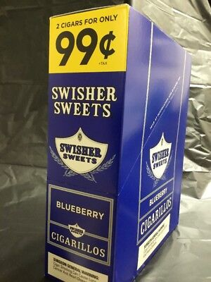 Swisher Sweets Blueberry Flavor. 2 Premium Cigarillos Box Of 30 Cigars