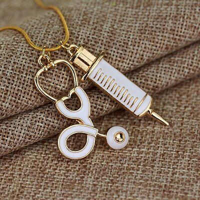 Alloy Medical Stethoscope Charm Syringe Pendant Necklace Chain Women Jewelry GH