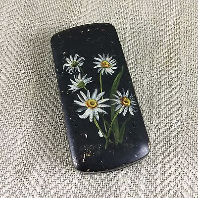 Antique Snuff Box Tobacco Tin Tole Ware Hand Painted Edelweiss German Swiss Vtg