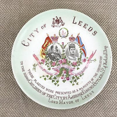 RARE ANTIQUE 1902 CITY OF LEEDS EDWARD VII CORONATION PLAQUE J H Awmack Plate