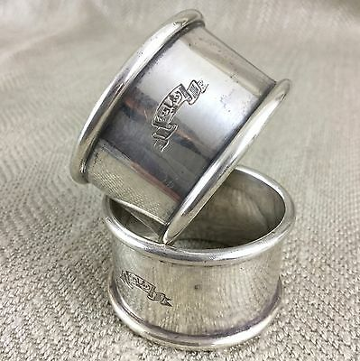 Antique Napkin Rings Middle Eastern Silver Plated Arabic Script  Pair