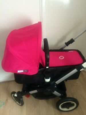 Bugaboo Buffalo Hot Pink  Extendable Hood And Carrycot Cover/apron Rare
