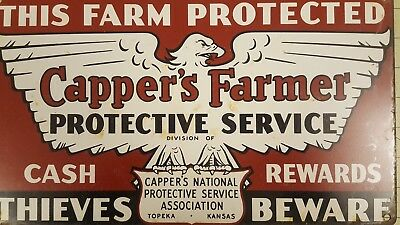 VTG CAPPERS FARMER PROTECTIVE SERVICE THIEVES BEWARE FARM TIN SIGNS TOPEKA, Ks