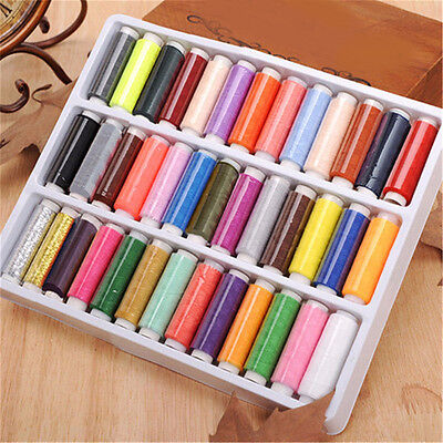 39x Mixed Colors Polyester Sewing Thread Machine Hand 200 Yard /Spool With Box .
