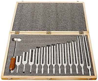 United Scientific TFBOX13 Tuning Fork Wooden Box Set With Mallet, 13 Forks New