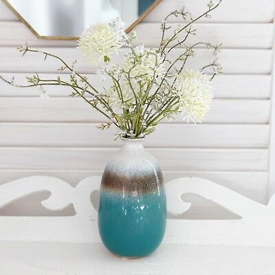 Vintage Style Bud Vase Turquoise Ombre Ceramic Flower Display , Meadow Bunch