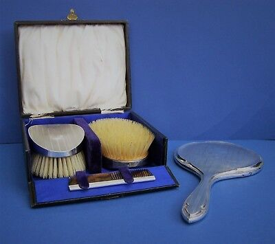 Sterling Silver, Cased 1928 - 1929 Hair Brushes & Comb + 1915 Hand Mirror