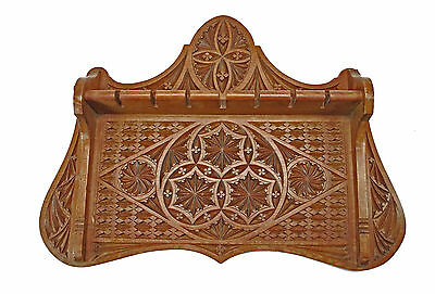 Antique Frisian Chip Carved Architectural Demitasse / Tea Spoon Rack, Dutch.