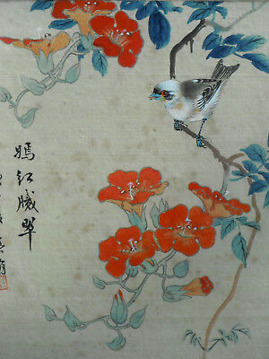 Fine 19th/20thC Signed Chinese Watercolour Painting on Silk Bird on Branch