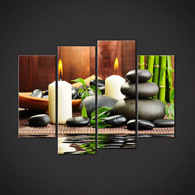 Zen Stones Bamboo Candles Canvas Print Picture Wall Art Home Spa Decor