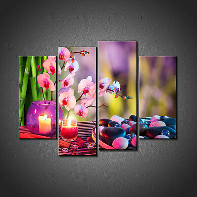 Zen Stones Candles Orchids Canvas Print Picture Wall Art Home Spa Decor