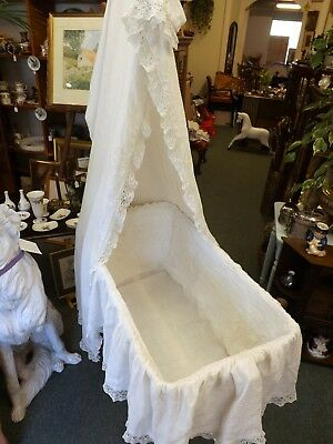 Antique Edwardian Iron Frame Crib With Drapes. Stunning Nursery Display Piece