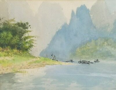Beautiful Vintage Chinese Watercolor Painting C1979 Signed Wang