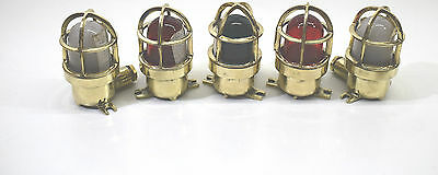 Nautical marine brass rare vintage wall, ceiling, multi color passage light