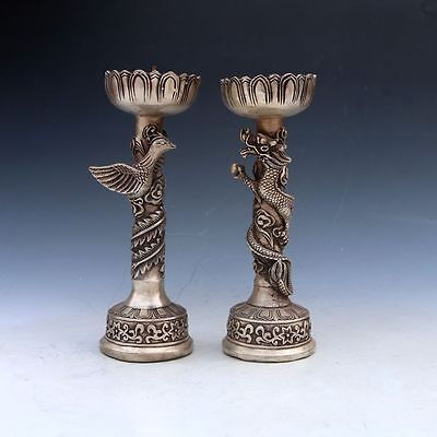 Chinese Silver Bronze Dragon And Phoenix Candle Stick Statue Pair