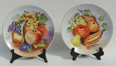 """2 Hand Painted Signed Fruit 8"""" Hanging Porcelain Wall Plates #4130"""