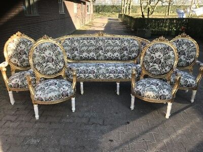 Antique French Louis Xvi Living Room Set - Sofa/settee + 4 Chairs