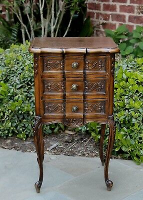 Antique French Country Walnut PETITE 3-Drawer Chest End Table Nightstand