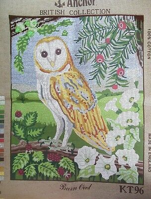 ANCHOR printed TAPESTRY Canvas BARN OWL KT96 - part completed