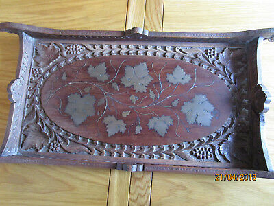Vintage Brass Inlaid Carved Wooden Tray