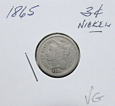 Nice...1865  3 Cent Nickel***Mid Details Obsolete Coin***