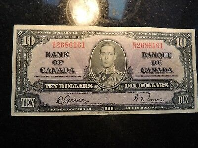 1937 BANK OF CANADA $ 10 TEN DOLLARS GORDON TOWERS B/D 2686161 BC-24b