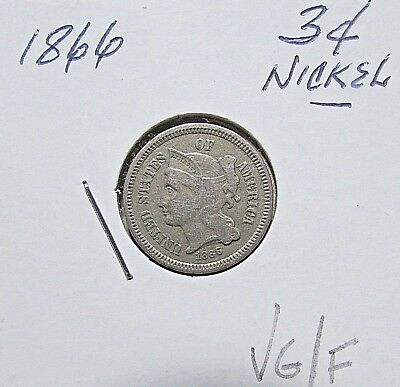 Nicer..1866  3 Cent Nickel***High Mid Grade Details...Collectable***