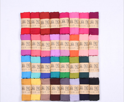 Candy Color Womens Girl Scarf Long Cotton And Linen Scarf Female Solid Color