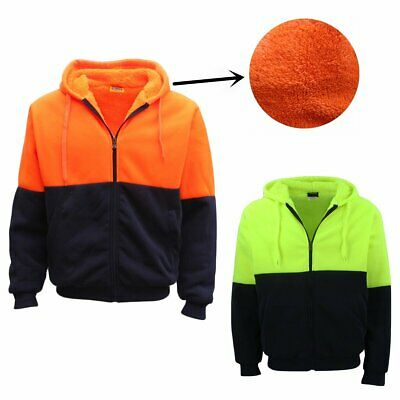 HI VIS Safety Full Zip Thick Sherpa Fleece Hoodie Workwear Jacket Jumper Winter