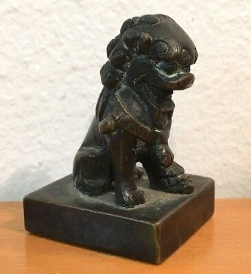 Antique Old Chinese Asian China Bronze Foo Dog Wax Seal Stamp Figurine Buy Now