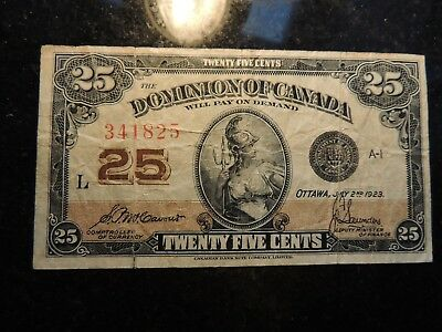 1923 Dominion Of Canada .25 Cents Shinplaster Paper 341825 Mccavour Saunders