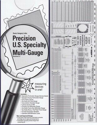 Stamps Perforation Multi Measuring Gauge Precision US Specialty 12 in 1 GO no GO