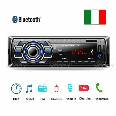 Autoradio Bluetooth Stereo Lettore Mp3 Fm Usb Sd Card Aux Radio 1 Din Wireless
