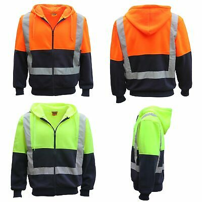 HI VIS Reflective Tape Fleece-lined Jacket FullZip Safety Hoodie Workwear Jumper