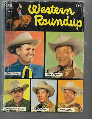 Dell Giant Comic Book, Western Roundup #1, Roy Rogers, Gene, Rex Allen ++