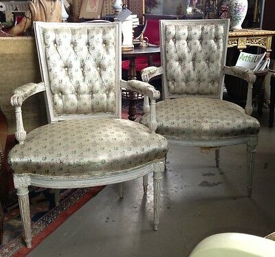 Pair of 18th Century Louis XVI Fauteuils by Delauney Original Paint Hand Carved