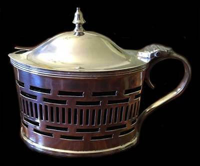 Silver oval mustard pot. William Hutton and Sons Ltd, Chester 1914