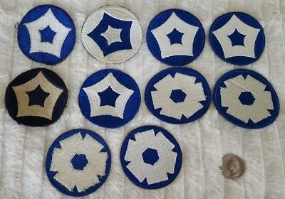 WW2 US Lot of 10 Service Command Wool, Greenback, Reversed Color Patches #394
