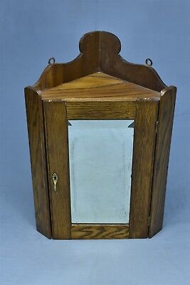 Antique OAK HANGING CORNER MEDICINE CABINET with BEVELED MIRROR REFINISHED 04637