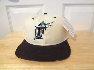 Vintage Florida Marlins Snapback Hat 90s New Era Pro Model NWT MLB  White Black bd28f95d6902