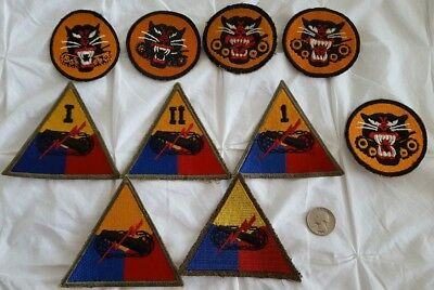 WW2 US Lot of 10 Tank Destroyer & Armored Division Patches #404