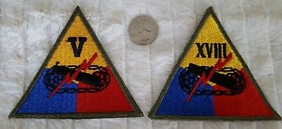 WW2 US 2 Rare Armored 5th & 18th Corp Patches #407