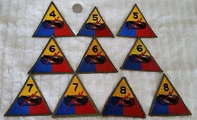 WW2 US Lot of 10 Armored Division Patches #409