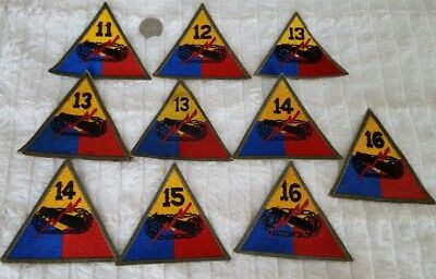 WW2 US Lot of 10 Armored Division Patches #411