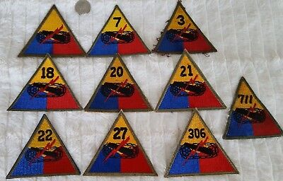 WW2 US Lot of 10 Armored Division Patches #412