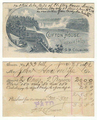 19th C. Illustrated Advertising Trade Card for the Clifton House - Niagara Falls