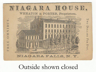 19th C. Illustrated Advertising Trade Card for the Niagara House Hotel - NY