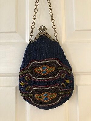 Vintage Blue Beaded With Metal Decorative Frame