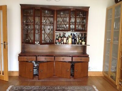 Dining Room Dresser, mahogany Regency-style reproduction with Drinks Cabinet.
