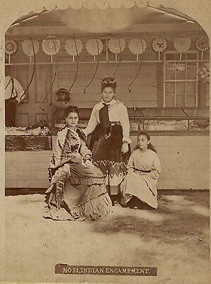 Rare Stereoview - Iroquois Mohawk Indians Selling Beadwork Saratoga Springs, NY